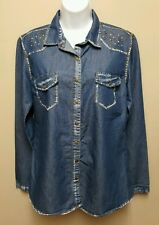 Dream Out Loud by Selena Gomez XL Blue Chambray Jean Denim Shirt Top Snaps Down