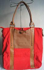 sac à main grand cabas LANCASTER en toile rouge et cuir comme neuf