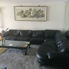 Made in Italy NATUZZI sectional black leather sofa