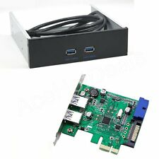 "PCI-E 2 port USB 3.0 Card Adapter w/ USB 3.0 Front Panel 5.25"" Floppy Disk Bay"