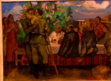 1961 Socialist Realism Painting WWII SOVIET USSR SOLDIER Listed Russian ARMENIAN