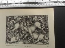 1920s Woodcut print Fighting Horses by Hans Baldung Grien: wild horses