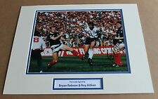 BRYAN ROBSON ROY AITKEN ENGLAND SCOTLAND HAND SIGNED PHOTO MOUNT + COA