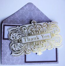 *PUNCH STUDIO Set of 4 Gold Foil Blank Note Cards ~ Thank You ~Gold Swirl Design