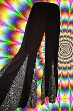 9✪ groovy 70er Jahre Hippie Mega Herren Schlaghose Boney M schwarz silber L - XL