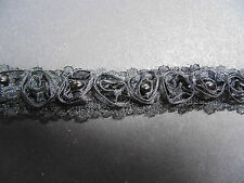 Black Organza Rose & Pearl LaceTrim 1 Metre  Sewing/Costume/Crafts/Corsetry