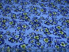 3 Yards Quilt Cotton Fabric - Hoffman Isabella Blue Purple Pansies on Blue