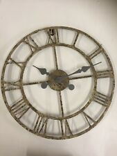 New RUSTIC BROWN GOLD METAL SKELETON CLOCK 45cm Vintage Chic Wall Home Decor