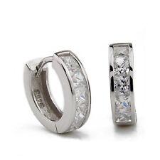 Women Men's Jewelry Rhinestone Crystal Plated Huggie Hoop Ear Studs Earrings