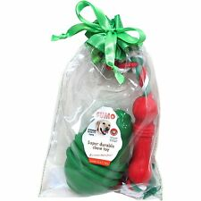New ! SUMO - 2 Dog Toy Gift Bag w/ Green Rubber Treat Toy & Pull -Medium Dog
