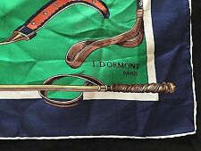 "J. D' Ormont Paris Green Navy Blue Brown Big 30"" Silk Scarf Riding Equestrian"