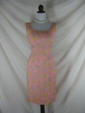 Vtg 50s 60s Royal Lynne PINK Chiffon Floral Flowers Garden Party Wiggle Dress