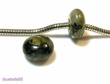 2 X Grey-Green LABRADORITE Stone CHARM BEADS For 3mm European BRACELET - 2nds