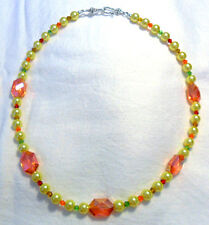 "20"" necklace yellow glass pearls + 18mm orange glass beads"