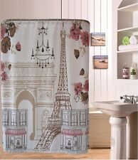 Retro Stamp Eiffel Tower Butterfly Flower Shower Curtain Bathroom Waterproof 72""