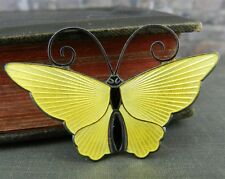 David Andersen Norway Sterling Silver Yellow Enamel Butterfly Pin / Brooch