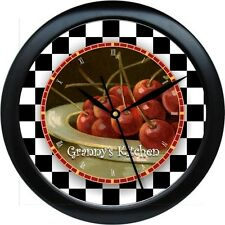 Personalized Bowl of Cherries  Wall Clock Kitchen Decor