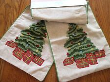 Christmas Tree Holiday TABLE RUNNER 72x14 Applique Embroidery Jingles & Joy NWT
