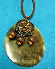 Necklace Mother of Pearl Southwestern Style Leather Beads Shell Tribal QVC