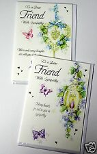 SYMPATHY FOR FRIEND CARDS x24, JUST 27p, foiled, wrapped, 2 DESIGNS, ( B645