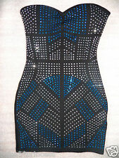 NWT bebe black silver studs strapless bodycon skirt top dress tube S small club