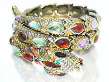 Women Lady Crystal Rhinestone red Bangle Silver Plated Bracelet Jewelry snack