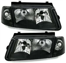 BLACK HEADLIGHTS HEADLAMPS + INTERGRATED FOG  LIGHTS VW PASSAT 3B 10/96-10/2000