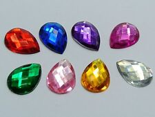 100 Mixed Color Flatback Acrylic Rhinestone TearDrop Gem Beads 13X18mm No Hole