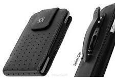 Leather Case Pouch for Apple iPhone 5S/5C SE w/Rotating Swivel Holster Belt-Clip