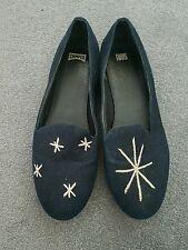 Camper Gemelos Diseñador Azul Marino Estrellas Bailarina Zapatos De Salón Uk 7 EUR 40 RRP £ 95