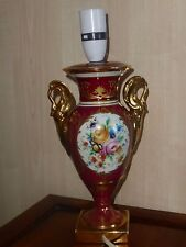 LIMOGES FRANCE LE disponibili Lampada base HAND Decorated FIORI E ORO ROSSO