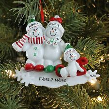 SNOWMEN SLED FAMILY OF 3 PERSONALIZED CHRISTMAS TREE ORNAMENT HOLIDAY GIFT 2016