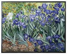 "Van Gogh ""IRISES"" Floral Stained Art Glass Window Panel Hanging Display"