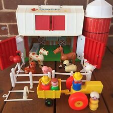 Vintage Fisher Price Little People Farm Barn Silo Animals #2501 Complete 1986