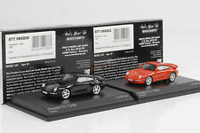 1995 PORSCHE 911 993 TURBO SET BLACK RED NERO ROSSO 1:87 Minichamps