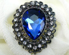 Vintage BLUE Craft Crystal Rhinestone Costume Brooch Pin Wedding Bridal Bouquet