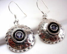 Faceted Iolite Hammered Earrings 925 Sterling Silver Dangle Drop Round New