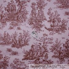 BonEful Fabric FQ Cotton DECOR VTG Pink Brown Baby Girl Nursery Sm Toile Antique