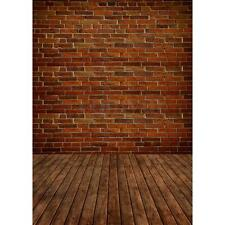 5x7ft Red Brick Wall Wood Floor Photography Backdrop Photo Background Studio Hot