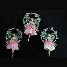 Beautiful Gisela Graham Christmas Pink Fairy Holding a Bird Decoration 11347