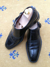 Gucci Men's Shoes Black Leather Monk Buckle Loafers UK 6 US 7 40 Made in Italy