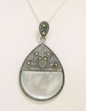 Marcasite .925 Sterling Silver Open Mother of Pearl Half Circle Pendant w/ Chain