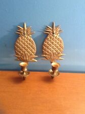 vintage solid brass pinapple candle holder sconce rare style