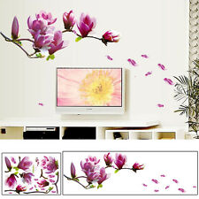 PVC Magnolia Flowers and Tree Wall Stickers Art Decal for Home Decor 70 * 50cm