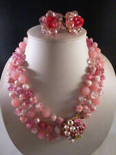ORIGINAL BY ROBERT VINTAGE PINK GLASS DAZZLE RHINESTONE NECKLACE & EARRINGS SET