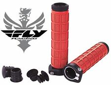 Fly Racing Grip Lock Grips Red 7/8 Handlebar Bicycle ATV Quad Locking Race Bike