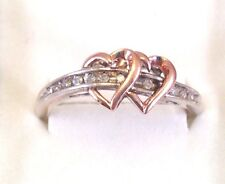 10k Yellow Gold & 925 Silver Diamond Accent Heart Ring Size 9.5