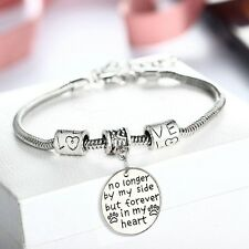 No Longer By My Side But Forever In My Heart Round Pendant Bracelet Bangle Gift