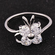 White Gold Filled clear crystal Lucky small butterfly Womens wedding Ring Size 8