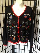Nutcracker Large Black Multi-Color Embroidery Ugly Cardigan Christmas Sweater